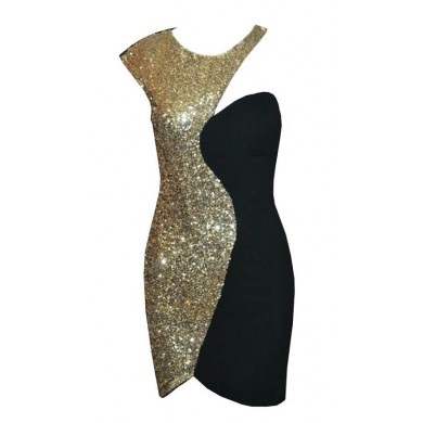 Black Cocktail Dress - One shoulder sequin dress | UsTrendy