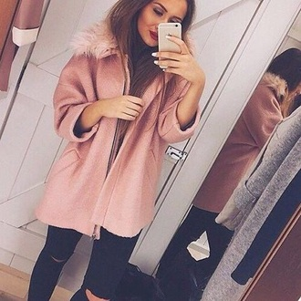 coat rose fur vest pink
