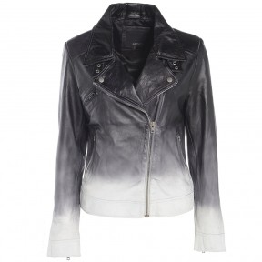 Barneys Originals Women's Black White Ombré Leather Asymmetric Biker Jacket
