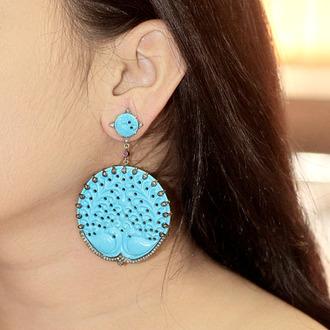 jewels diamonds earrings jewelry fashion carving turquoise peacock handmade jewellry vintage jewellery