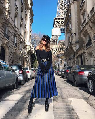 skirt midi skirt blue skirt stripes striped skirt high heel sandals sandals sandal heels top off the shoulder hat sunglasses