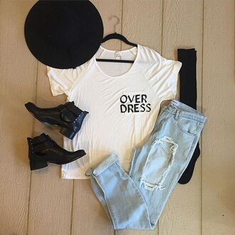 shirt divergence clothing graphic tee graphic top graphic shirt chic streetstyle ripped jeans lightwash jeans lightwash denim boyfriend jeans chelsea boots knee high socks black knee socks holidays winter outfits grunge 28719