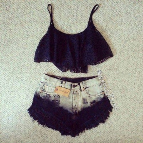 shorts lace ombre tank top black lace top crop tops cute cut off shorts summer outfits