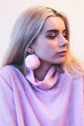 jewels,earrings,fluffy,faux fur,fur,pink,joanna kuchta,pompon earrings