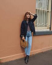 jacket,tumblr,blue jacket,denim jacket,denim,jeans,bag,nude bag,handbag,boots,black boots,ankle boots,top,stripes,striped top