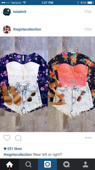 top kimono shorts bralette