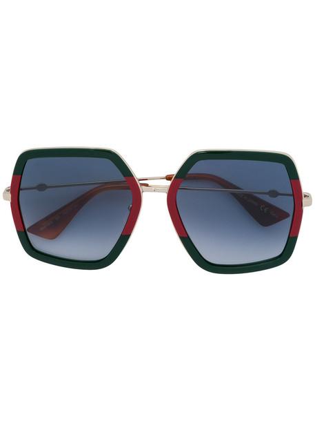 Gucci Eyewear - oversized sunglasses - women - Acetate/metal - 56, Green, Acetate/metal