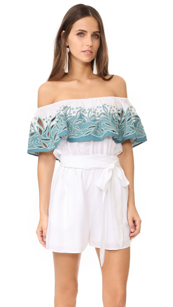 Mara Hoffman Embroidered Off Shoulder Romper - White Sage