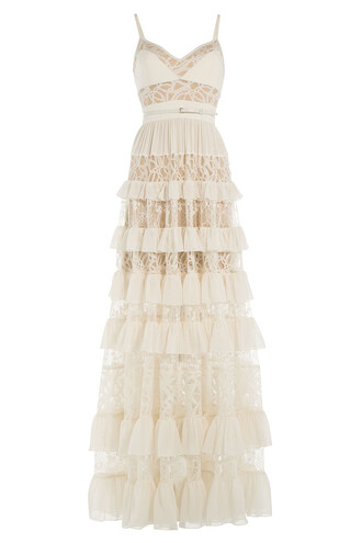 gown lace silk white dress