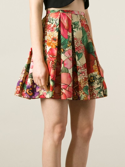 Red Valentino Pleated Floral Skirt - Twist'n'scout-paleari Online Store - Farfetch.com