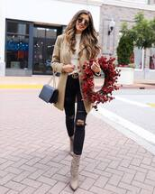 shoes,ankle boots,black ripped jeans,gucci,black belt,white sweater,coat,black bag