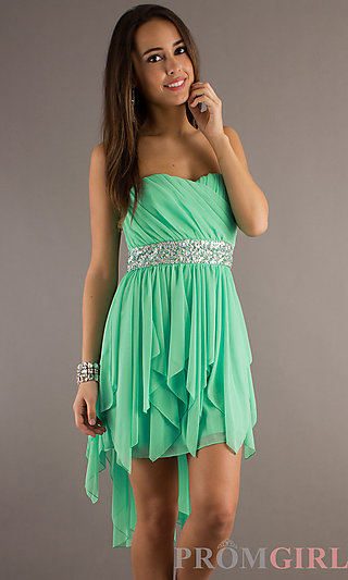 Strapless High Low Dress, High Low Strapless Prom Dress- PromGirl