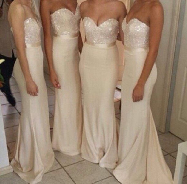 dress prom dress long prom dress bridal dresses glitter prom long dress celebrity beige evening dress long evening dress pretty long bridesmaid dress gown bridesmaid sparkle silk mermaid strapless wedding ivory beige dress champagne dress cream bridesmaids dress bridesmaid clothes bridesmaid sequins sequin dress nude long bridesmaid dress white bridesmaid dress mermaid bridesmaid dress sequin bridesmaid dress