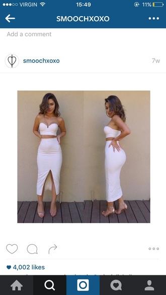 dress white skirt white white crop tops