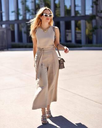 jumpsuit sandals bag sunglasses white sunglasses necklace