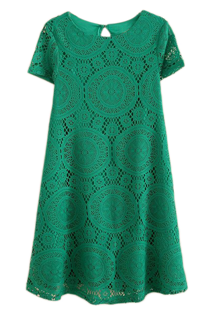 ROMWE | ROMWE Lace Short Sleeves Green Dress, The Latest Street Fashion
