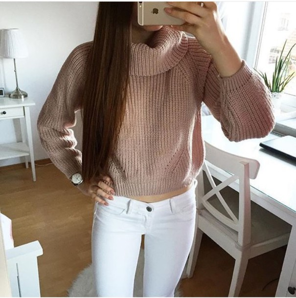 Sweater: rose gold, winter outfits, pink, rose, warm, warm sweater ...