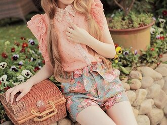 blouse baby pink button up ruffle peach blouse studded collar blouse clothes shorts floral shorts peach