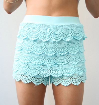 MINT TIER CROCHETED SCALLOPED HEM HIGH WAISTED LACE SHORTS 6 8 12