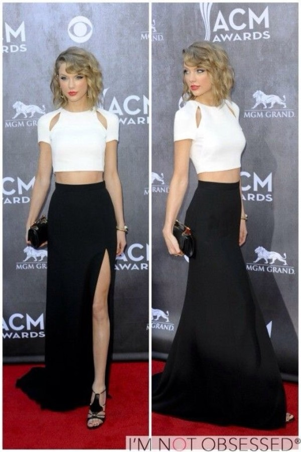 skirt taylor swift blouse black skirt slit skirt white crop tops top