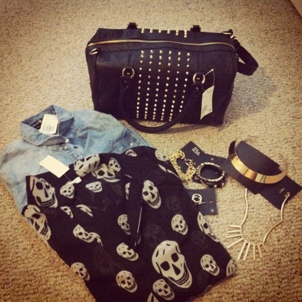 blouse black leather skull denim spikes gold gold jewelry bag studded