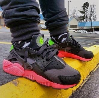 shoes nike air huarache black green huaraches trainers shoes
