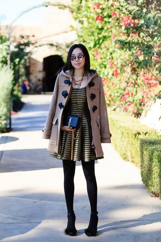 fit fab fun mom blogger skater dress striped dress duffle coat