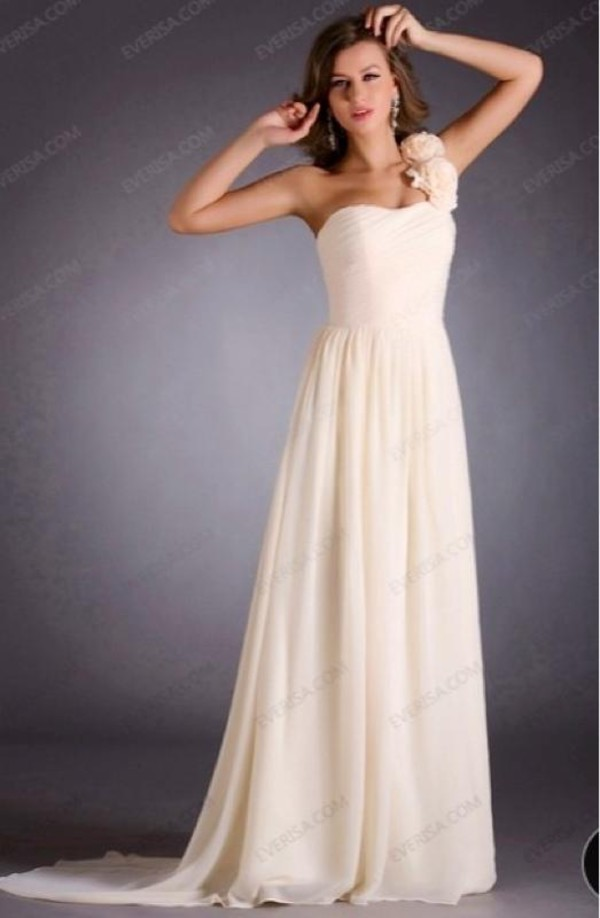 beige dress one shoulder floorlength prom dress