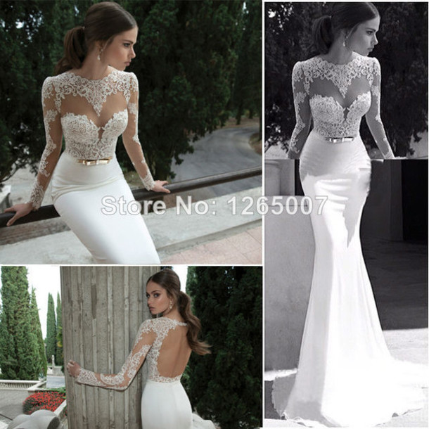 Wedding Dress Bridal Gown Prom Lace Backless Open Back Mermaid