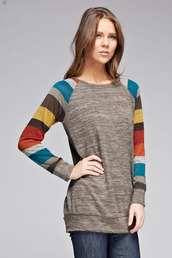 sweater,gray two toned knit sweater with striped sleeves,knit,long sleeves