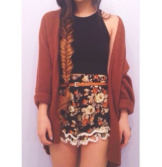 shorts black tank top floral high waisted brown sweater scarf shoes cute flowers sleeveless dark orange high shorts belt dark colors flowery shorts beautiful shorts black top girly summer flowered shorts high waisted shorts blouse blouse. shorts. shirt. brown. vintage. black. vesttop cardigan mustard shirt indie lace clothes floralshorts vintage fabric boho jacket skirt cute look casual spring tumblr coat hipster red burgundy over-sized summer outfits grunge fall outfits printed shorts black crop top short flower crown style lookbook short shorts orange fashion fall sweater oversized oversized cardigan oversized sweater orange cardigan knitted cardigan top