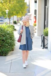 poor little it girl,blogger,dress,sweater,shoes,hat,bag,beanie,denim dress,cardigan,sneakers