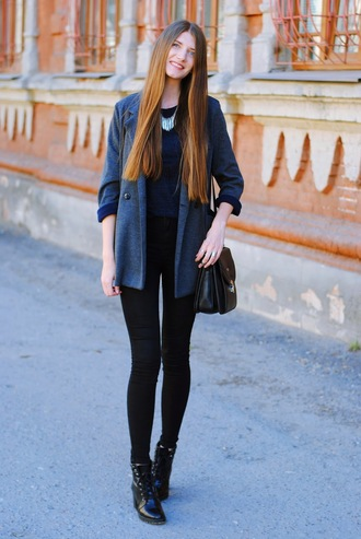 yuliasi blogger sweater shoes jeans jacket bag jewels