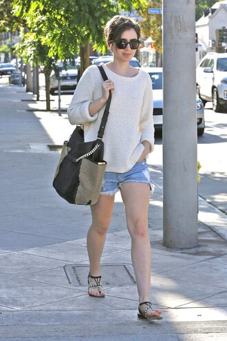 shorts sweater denim spring outfits lily collins flat sandals hair accessory