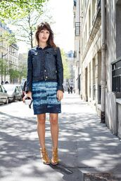 skirt,jeanne damas,blue skirt,mini skirt,sandals,sandal heels,high heel sandals,jacket,denim jacket,denim