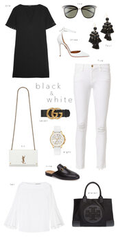 ivory lane,blogger,dress,sunglasses,shoes,jewels,jeans,bag,belt,blouse,ysl bag,ysl,gucci,white jeans,handbag,black t-shirt,pumps