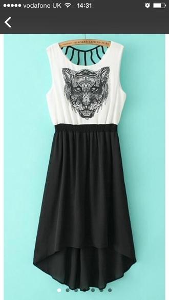 dress black white chiffon tiger