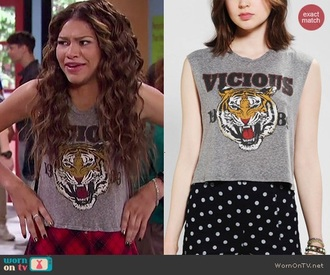 shirt zendaya tiger grey grey t-shirt pattern animal short sleeve animal face print