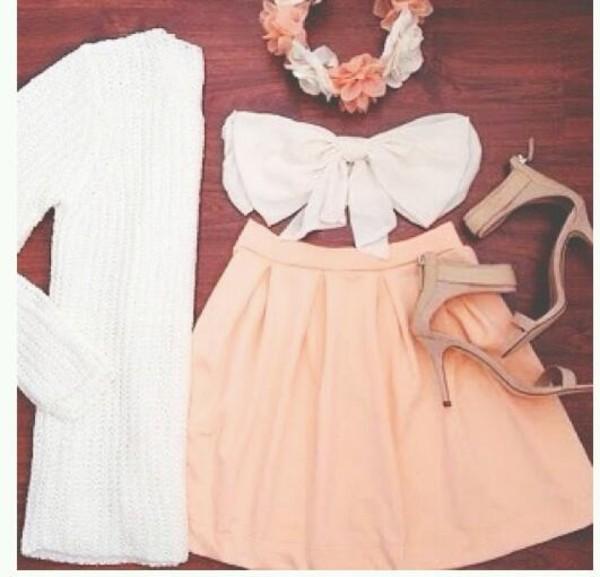 shirt bandeau skirt cardigan tumblr instagram pinterest light pink white bows high heels hat shoes sweater