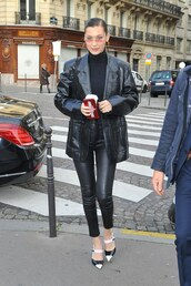 top,leather,leather jacket,pants,turtleneck,pumps,paris fashion week 2018,streetstyle,model off-duty,bella hadid,shoes