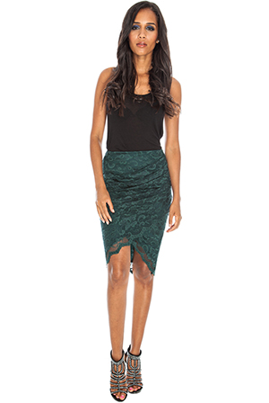 Lace Wrap Front Ruched Skirt