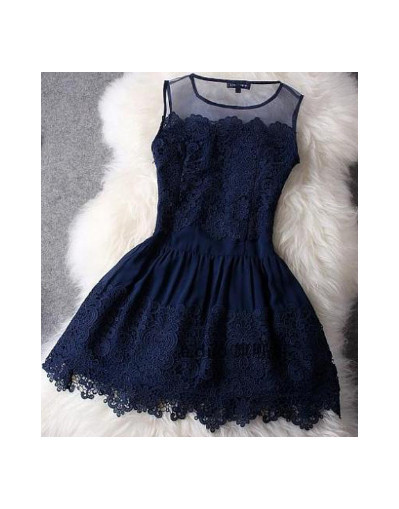 Lace mesh transparent party gift white blue blogger dress dresses
