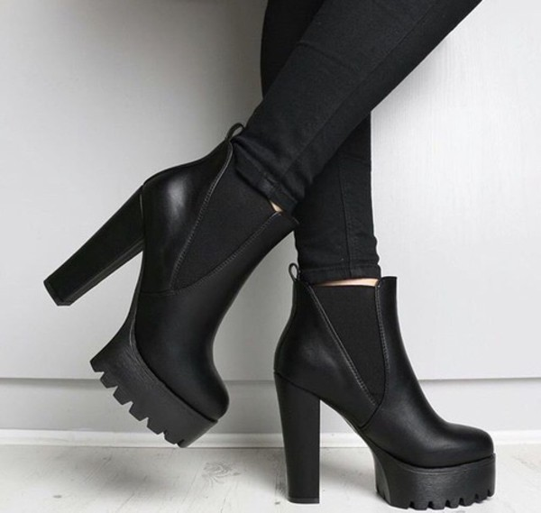 Shop Hallie Black PU High Heel Chelsea Boots  a9175846f