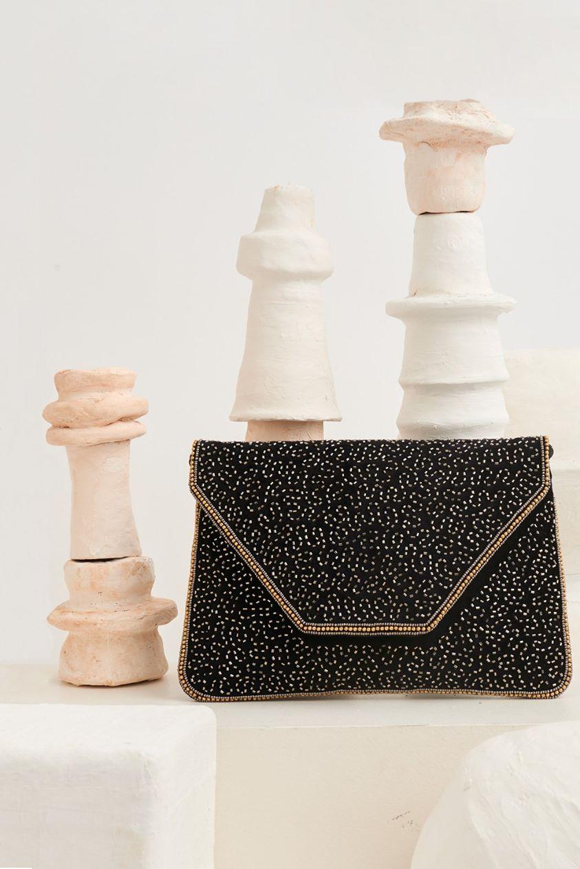 Wolvy Beads-Embroidered Small Clutch - Black - UNIQUE SIZE - Antik Batik - Antik Batik