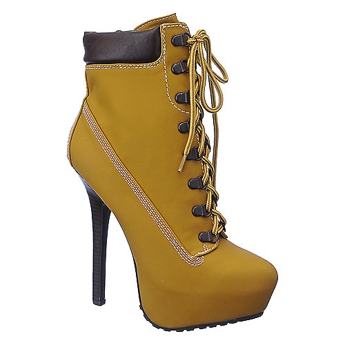 Dollhouse Womens Tyrant tan platform high heel ankle boot | Shiekh Shoes