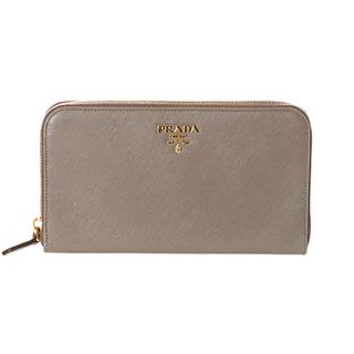 Prada 'oro' light grey saffiano leather zip