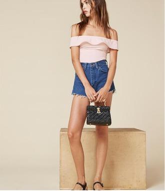 underwear bodysuit pastel pink reformation ruffle spring off the shoulder
