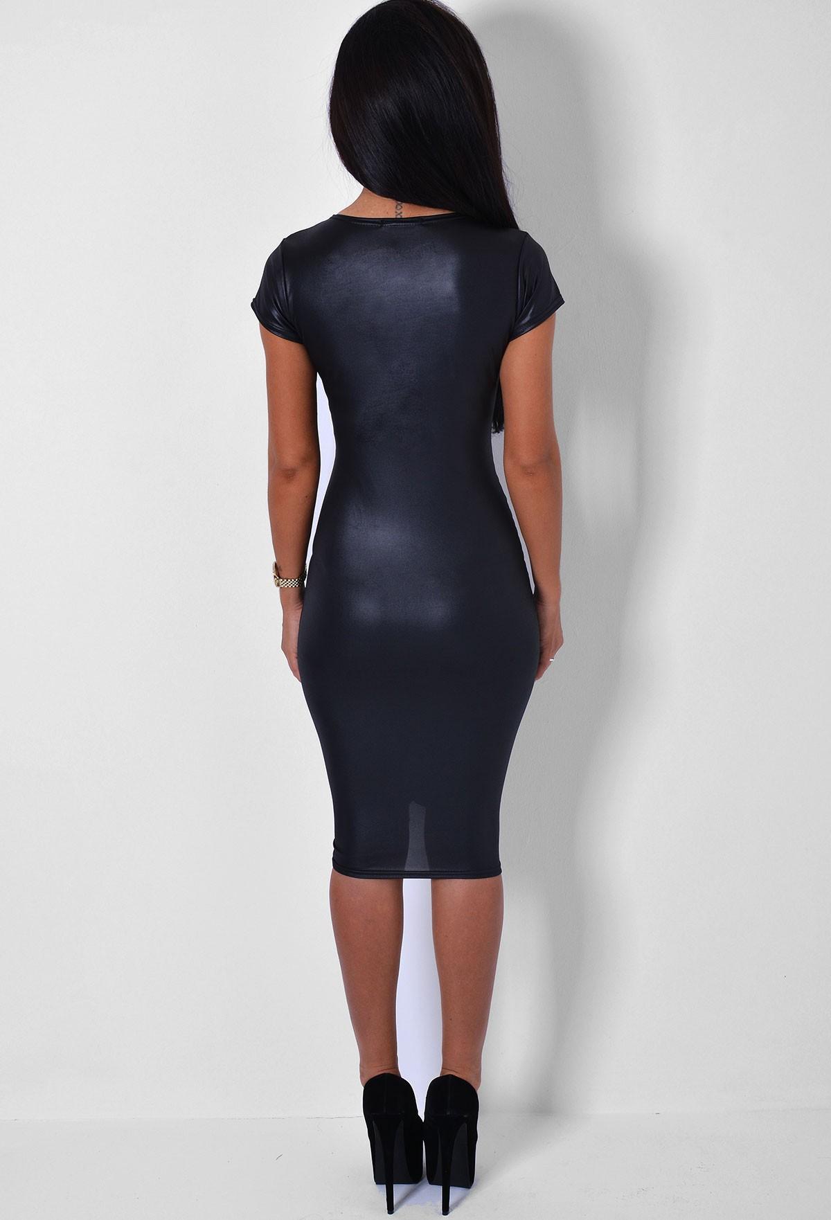 Sycamore wet look cap sleeve midi dress