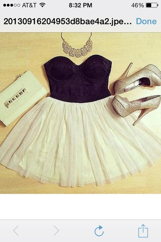 shoes black white dress skirt blouse nude beige necklace statement necklace jewels clutch envelope clutch bag purse formal formal dress sparkle sequins cute prett