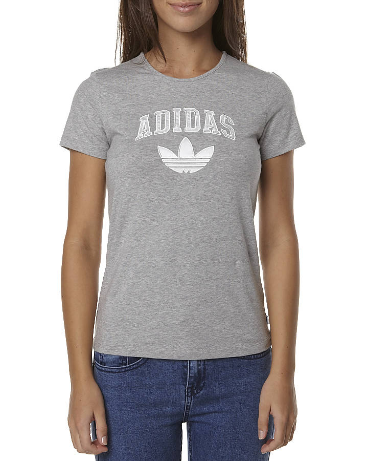 ADIDAS SLIM LOGO TEE - GREY HEATHER